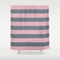 Stripe Horizontal Coral Pink Gray Shower Curtain by BeautifulHomes