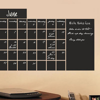 Chalkboard calendar vinyl wall decal sticker Monthly Blackboard with memo area