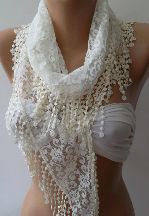 Creamy  White - Elegance  Shawl / Scarf with Lacy Edge,,