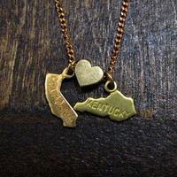 California Loves Kentucky  - State Charm Necklace