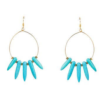 TURQUOISE POINTED FRINGE HOOP EARRINGS