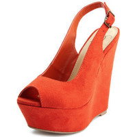 Sueded Slingback Wedge