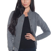 Cheer It On Quilted Baseball Jacket - Charcoal