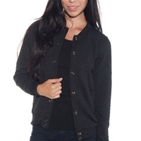 Cheer It On Quilted Baseball Jacket - Black