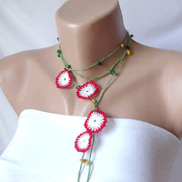 Red, White, green Flowers and green bead  Necklace, Lariat, Bracelet - Turkish lace Work-OOAK