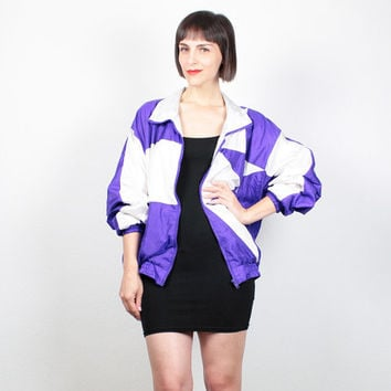 Vintage 80s Bomber Jacket Purple White Color Block Windbreaker Jacket Geometric Track Jacket Sporty Athletic Wind Breaker M Medium L Large