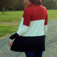 Color Block Cardigan {Red/White/Black}