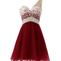 Dresstells One Shoulder Homecoming Dress with Beadings Short Bridesmaid Dress Burgundy Size 10