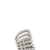 FOREVER 21 Cutout Faux Stone Cocktail Ring Silver/Clear