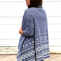 Cream + Blue Tribal Print Cardi