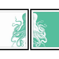 Octopus Art Print Beach Decor, Nautical Decor, Beach House Sea Life, Ocean Print Set of Two - 5x7, 8X10, 11x14 Home Decor Wall Decor