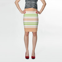 Light Pink and Spring Green Stripes by Kat Mun (Fitted Skirt)