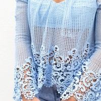 Soho Top - blue overlay with blue lace trim off the shoulder crop top