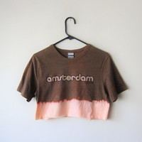 Amsterdam Crop Top, Dip Dye Bleached Tourist Indie Hipster Grunge 420 T-Shirt, Size SMALL, One of a Kind