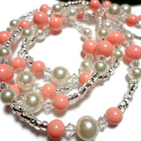 Beaded Lanyard Id Necklace with Pink Coral and White Swarovski Crystals and Pearls Strong Breakaway Magnetic Clasp Handmade Angel