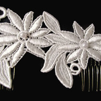 Floral Lace Applique Bridal Hair Piece with Hand Sewn Pearls