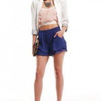 Scallop Hem Play Shorts in Cobalt