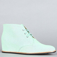 The Sharon Hidden Wedge Boot in Light Green
