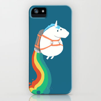 Fat Unicorn on Rainbow Jetpack iPhone   iPod Case by Budi
