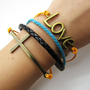 bronze crossing LOVE pendant Leather and  Ropes Women Cuff Bracelet Unisex bracelet  1115A