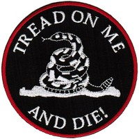 Tread On Me and Die Embroidered Patch Gadsden Iron-On Patriotic Snake Don't Emblem