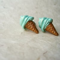 Ice Cream Earrings. Handmade Polymer Clay Stud Earrings. Summer Fashion. Pastel Ice Cream Cone. Mint Earrings. Mint Sugar Cones FSE1.