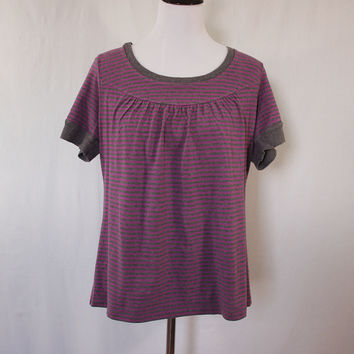 Gray and pink striped knit scoop neck shirt