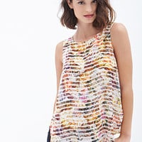 Striped Floral Woven Top