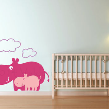 Mamma and baby hippo vinyl wall decal, wall sticker, decal, vinyl decal, sticker, graphic image,…