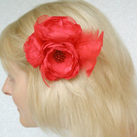 Red Poppy Flower Accessory With Some Feathers- Pin Or Hair Clip