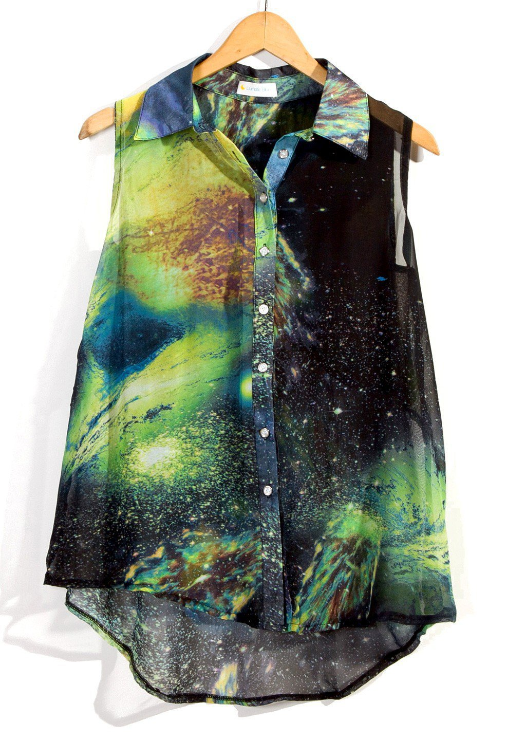 Galaxy Print Sleeveless High-Low Button Up Top