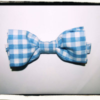 New  Checkered Bow tie - Blue & White