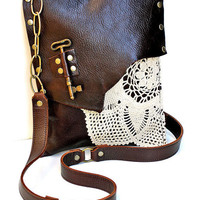 PRE-ORDER Brown Leather Boho Messenger Bag with Crochet Doily and Antique Key - Medium One Of A Kind
