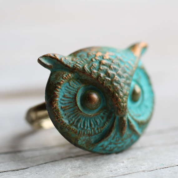 Owl Ring .. Verdigris Bird with Antique Gold