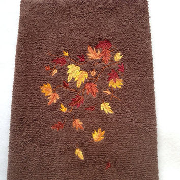 Fall leaves in colors yellow orange gold burnt orange embroidered