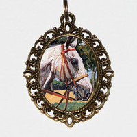 Horse Necklace, Horse Jewelry, Oval Pendant