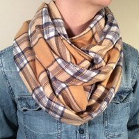 Handmade Infinity Scarf Plaid Flannel - Double Layer Super Warm!  Back to School, Blue and Gold, Christmas Present, Stocking Stuffer