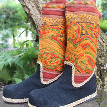 Colorful Womens Cowboy Boots In Ethnic Laos Embroidery 9.5