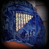 "Vintage High Waisted Studded Acid Wash Levis Cut Off Shorts 27"" Waist"