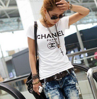Chanel t shirt cc logo short sleeve from amouna on artfire for Chanel logo t shirt to buy