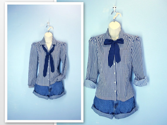 Vintage Striped Blouse / Schoolgirl Ascot Blue White Shirt