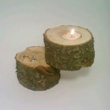 Wedding Ring Box, Ring Bearer Box, Jewelry Box, Rustic Log Tealight Candle Holder