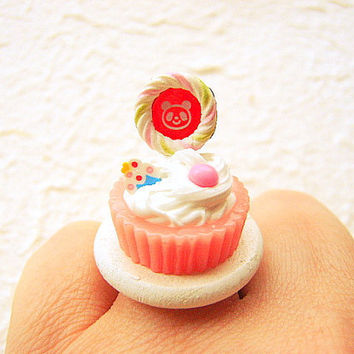 Kawaii Ice Cream Ring Bear Lollipop Miniature Food Jewelry