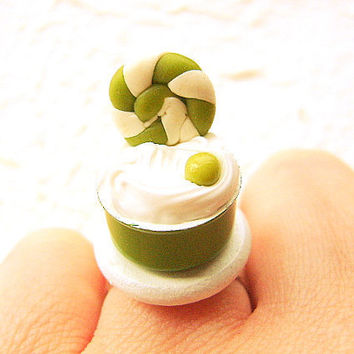 Kawaii Ice Cream Ring Green Apple Miniature Food Jewelry