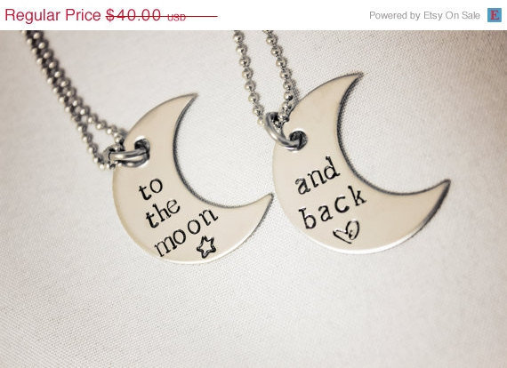 Christmas in July SALE Hand Stamped Necklace Set - To the moon... and back - Stainless Steel Jewelry - Great for Couples, Best Friends, Gif