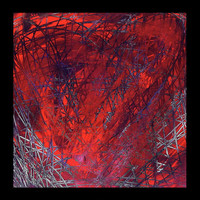 Art, Home Decor, Abstract Heart Painting, Red:  Ravaged Heart