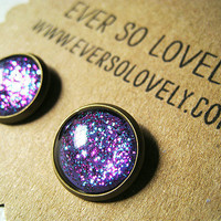 periwinkle starry skies - handmade blue violet purple sparkly metallic nickel free post earrings