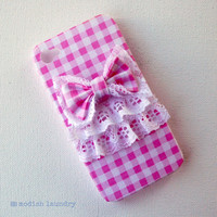 Recycled iPhone Case, iPhone 4 Case, iPhone 4s Case, Cute Pink Gingham Bow