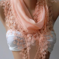 Salmon Pink - Elegance Shawl / Scarf with Lace Edge.
