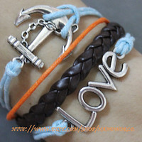 silvery anchor bracelet  love bracelet rope bracelet brown leather bracelet